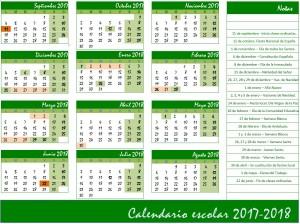 Calendario escolar 2017-2018 colegio